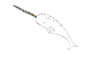 Narwhal, flowers. 8x10 print
