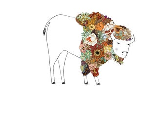Bison, flowers. 8x10 print