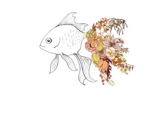 Goldfish, flowers. 8x10 print