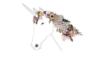 Unicorn, flowers. 8x10 print