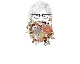 Beard, flowers. 8x10 print