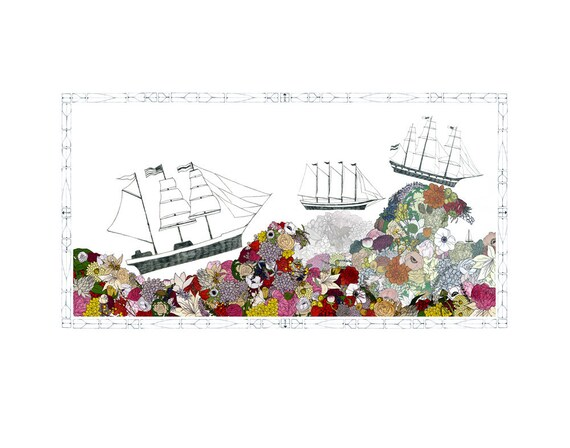 Ships, flowers. 11x14 print