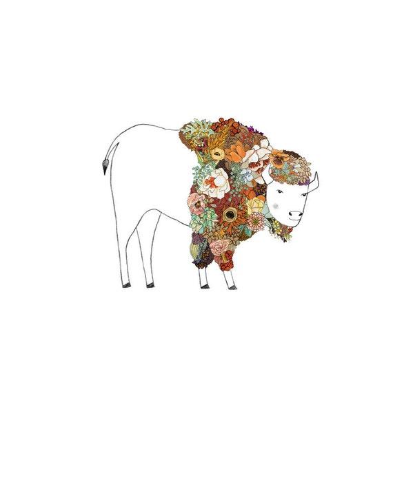 Bison, flowers. 8x10 print