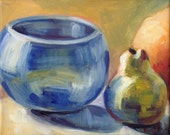 """Painting in Oil on Canvas of Fruit Pear and Bowl 8"""" x 10"""""""