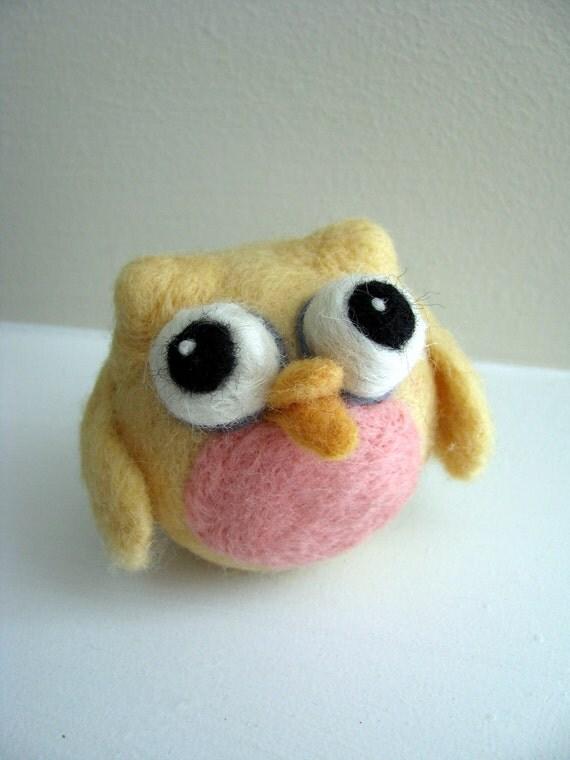 Little Yellow Owl - Needle Felted Friend