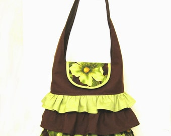 Green and Brown Magnolia Ruffled Purse