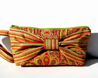 Orange and Green Big Bow Wristlet - Clutch