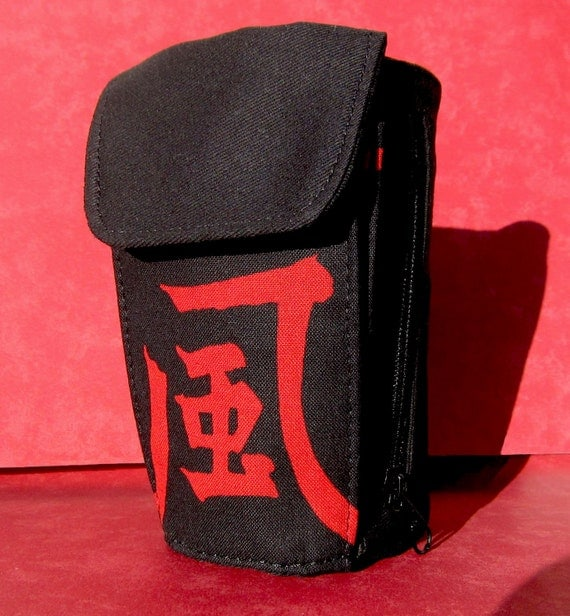 """Black and Red Chinese Character """"Wind"""" Cuff Wallet/Wrist Wallet - Cell Phone, MP3, iPod, or Small Camera Holder"""