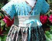 A Little Rhapsody Dress for Little Girls sizes 12 months to 7 -  Kimono Style with Obi Belt by Pink Mouse