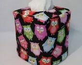 Tissue Box Cover - Owls and Pink Polka Dot Reversible