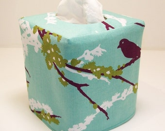 Tissue Box Cover Sparrows in Plum