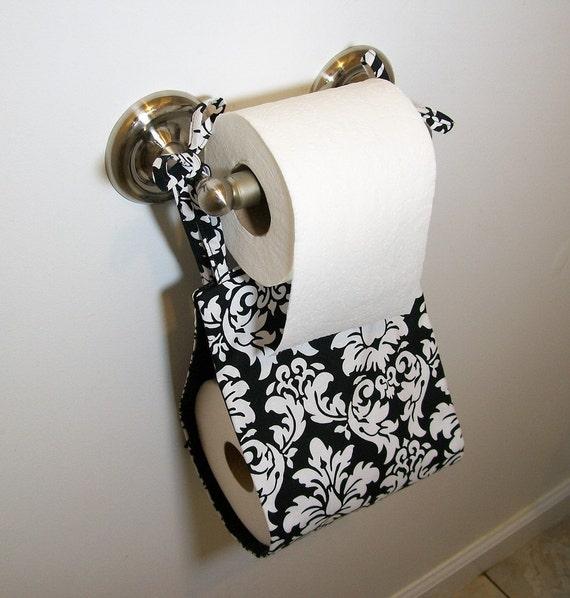 Toilet Paper Holder - Reversible Black Damask Fabric