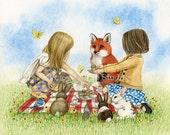 Playtime Tea Party - 8x10 archival watercolor print by Tracy Lizotte