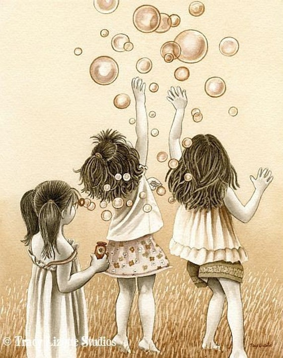 Bubbles - 5x7 archival watercolor print by Tracy Lizotte