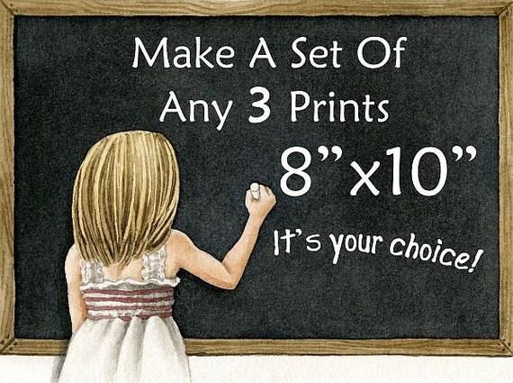 Custom Order THREE 8x10 Fine Art Prints