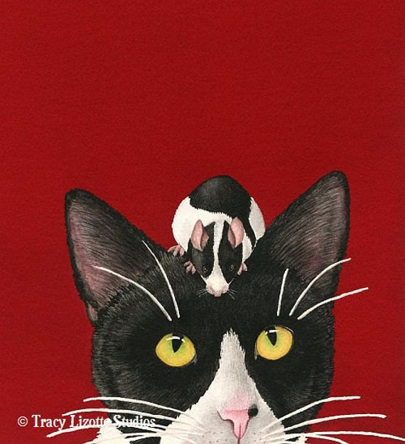 Black White and Red All Over. 8x10 archival watercolor print by Tracy Lizotte
