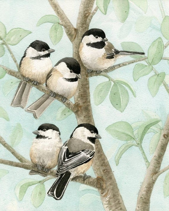 Bird Tree with Chickadees - 8x10 archival watercolor print by Tracy Lizotte