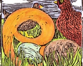 E is for Egg matted and signed Farm Alphabet Series block print