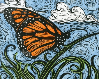 The Butterfly Effect, signed hand-colored block print