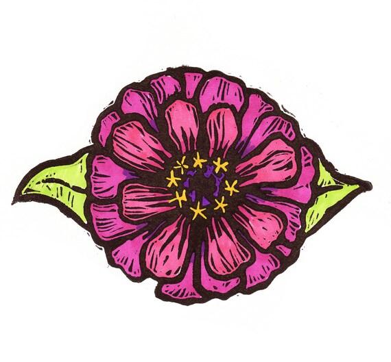 Block Print: Summer Zinnia  (Fuchsia)