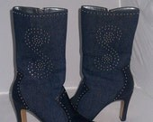 Blue denim  jeans leather and metal studs boots sz8.5