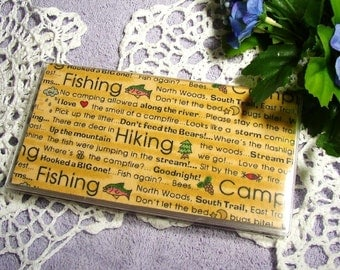 Hiking Fishing Camping Print Fabric and Vinyl Business or Credit Card Case, Checkbook Cover for Standard Duplicate and Top Tear Checks