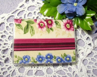 Debit ID Card Case in Vinyl and Fabric, Victorian Stripe and Flowers Print
