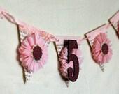 Birthday Banner- 5th Birthday Banner- Party Banner- Little Girl Banner