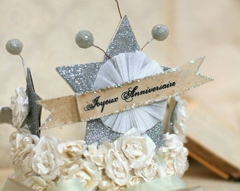 French Joyeux Anniversaire ( Happy Birthday ) Crown
