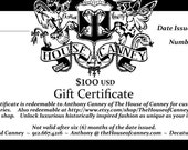 Gift Certificate for The House of Canney of 100 Dollars towards custom orders and etsy shop