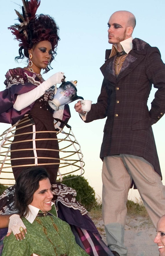 Steampunk Reversible and Solid Standing collar LARP CUSTOM