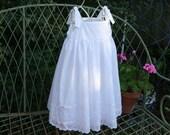 Handmade Flower girl, beach photos baptism girls dress  lovely white eyelet dress with ribbons running thru the lower skirt