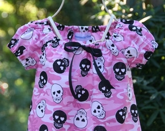 Handmade Pink Hearts and Skulls Dress .....   Available in sizes 1T, 2T, 3T, 4T, 5 and 6