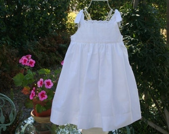 Truly handmade White eyelet dress sizes 6 mon. to size 8