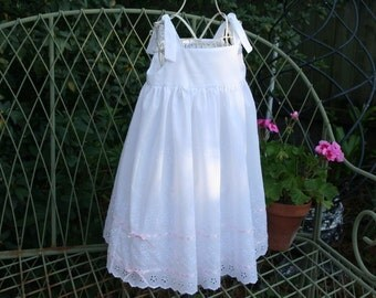 Handmade Flower girl, beach photos baptism girls dress  lovely white eyelet dress with ribbons running thru the lower skirt