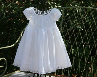 Handmade Flower girl, baptism or beach pictures white lined dress available in sizes 1..2..3..4..