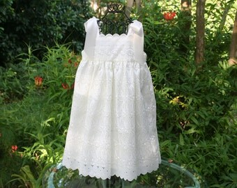 Truly handmade Flower girl dress ivory with satin ribbon shoulder ties. .available in sizes 1 thru 10