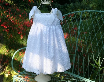 Handmade Flower girl Baptism White girls dress  Girls..Size 2T  ready to ship