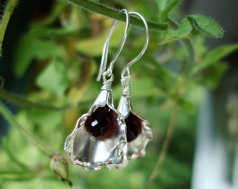 Red Garnet and Sterling Silver Shell earrings, garnet earrings, silver earrings, sterling silver earrings, red earrings,
