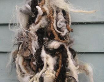 Handspun Art Yarn / WILD HORSES / rare wool / Extreme Texture / Super chunky bulky