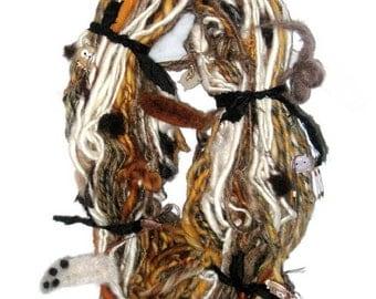 Handspun Art Yarn / OWLS / Handmade by Fiber Artist Gerry