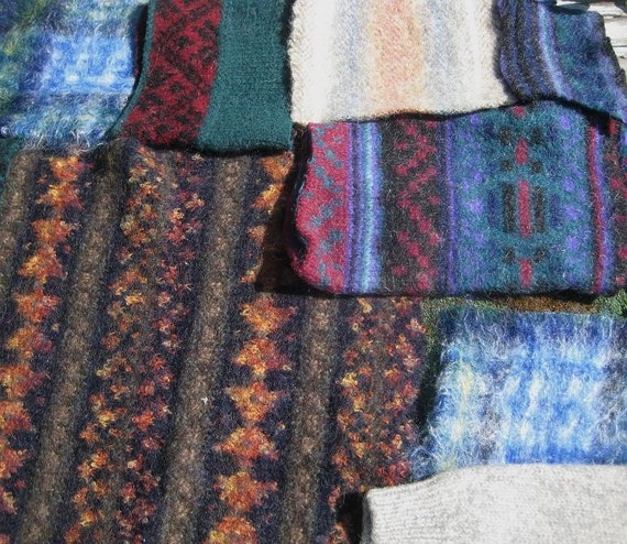 SALE Destash Large Felted Wool pieces / RECYCLE / cables / Fair Isle