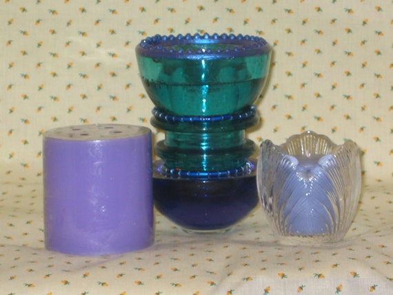 VINTAGE Embellished Aqua Electric Insulator Candler Holder