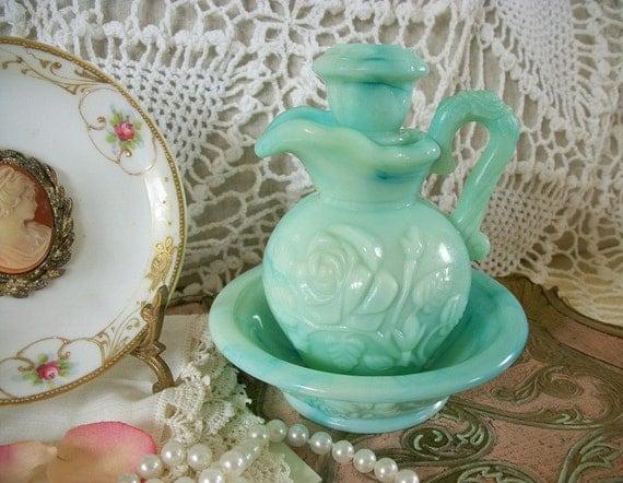 Vintage Aqua Milk Glass Bottle, Vintage Bath Oil Bottle, Shabby Chic, French Country Farmhouse Romantic Prarie Style, Treasury item