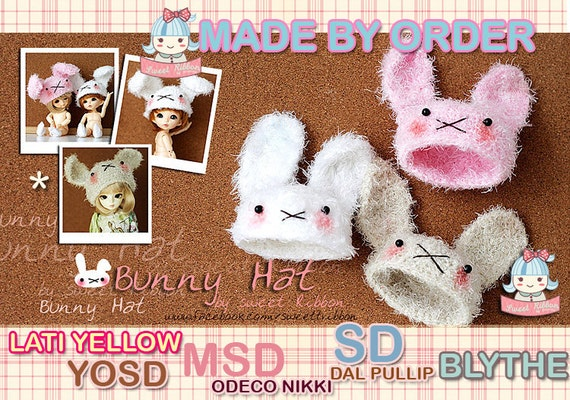 Bunny Fluffy Hat (made by order) for Latiyellow Yosd MSD Odecco Nikki SD Dal Pullip Blythe