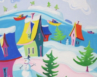 Winter Landscape - Whimsical Landscape - Paper - Canvas - Wood Block