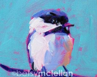 Chickadee - Bird Art - Paper - Canvas - Wood Block