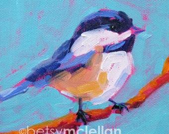 Chickadee - Bird Art - Paper - Canvas - Wood Block - Giclee Print