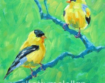 Goldfinches - American Goldfinch - Bird Art - Paper - Canvas - Wood Block