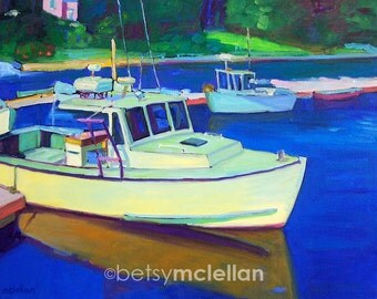 Maine Lobster Boat - Maine Landscape - Paper - Canvas - Wood Block - Giclee Print